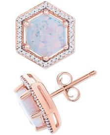 Opal (1-1/2 ct. t.w.) & Diamond (1/8 ct. t.w.) Geometric Halo Stud Earrings in 14k Rose Gold