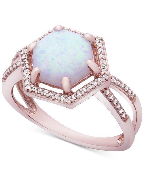 Macy's Opal (1-1/10 ct. t.w) & Diamond (1/8 ct. t.w.) Ring in 14k Rose Gold