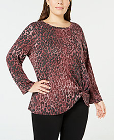 John Paul Richard Plus Size Knot-Front Top