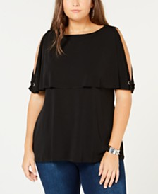 Belldini Plus Size Split-Sleeve Overlay Top
