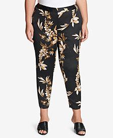 Calvin Klein Plus Size Floral-Print Straight-Leg Pants