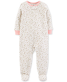 Carter's Baby Girls Printed Footed Fleece Pajamas