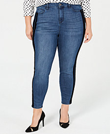 Celebrity Pink Trendy Plus Size Varsity-Stripe Skinny Jeans, Created for Macy's