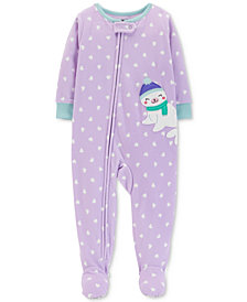 Carter's Baby Girls Heart-Print Seal Footed Pajamas