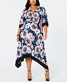 I.N.C. Plus Size Floral-Print Handkerchief-Hem Dress, Created for Macy's