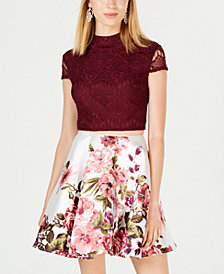 City Studios Juniors' 2-Pc. Lace & Floral-Print Dress, Created for Macy's