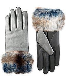 Isotoner Women's SleekHeat™ Stretch Leather Touchscreen Gloves with Faux-Fur Cuff