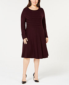 Jessica Howard Plus Size Ribbed Fit & Flare Sweater Dress
