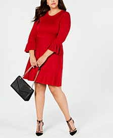 Jessica Howard Plus Size Bell-Sleeve Fit & Flare Dress