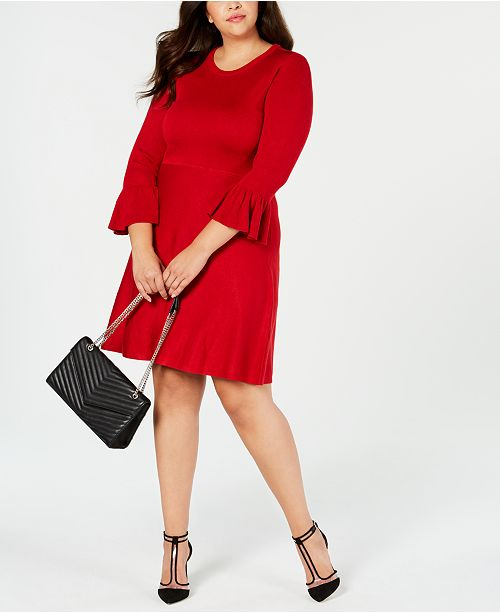 3f6adc8d2b Jessica Howard Plus Size Bell-Sleeve Fit   Flare Dress - Dresses ...