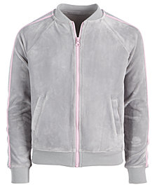 Ideology Big Girls Plus Glitter-Stripe Zip-Up Velour Sweatshirt, Created for Macy's