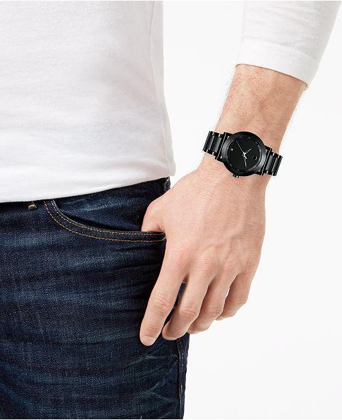 8c2bb327f Movado Men's Swiss Museum Sport Black PVD-Finish Stainless Steel Bracelet  Watch 42mm 0606615 ...