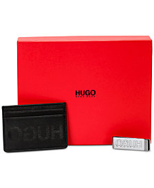 Hugo Boss Men's Leather Card Case & Money Clip Gift Set