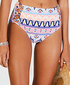 California Waves Far Away Vacay Printed Strappy High Waist Bottoms, Created for Macy's