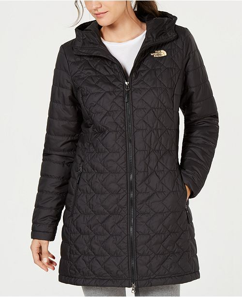 The North Face women's black quilted parka jacket.