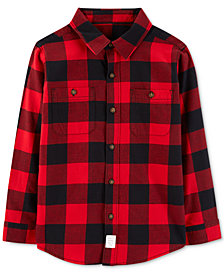 Carter's Little & Big Boys Buffalo-Check Twill Button-Front Cotton Shirt