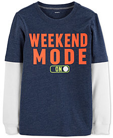 Carter's Little & Big Boys Layered-Look Weekend-Print T-Shirt