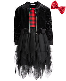 Beautees Big Girls Plus 3-Pc. Bomber Jacket, Dress & Bow Set