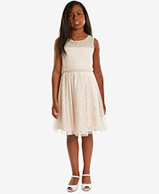 Rare Editions Pearl-Trim Lace Dress, Big Girls