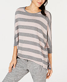 Calvin Klein Performance Rugby-Striped Relaxed Dolman-Sleeve Top