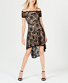 City Studios Juniors' High-Low Lace Off-The-Shoulder Dress