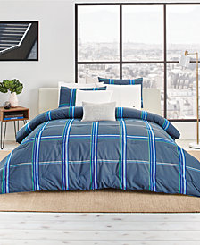 CLOSEOUT! Lacoste Grimtune Reversible 190-Thread Count 3-Pc. Blue King Comforter Set, Created for Macy's