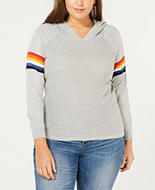 I.N.C. Plus Size Rainbow-Trim Hoodie, Created for Macy's