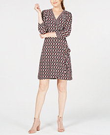I.N.C. Petite Printed 3/4-Sleeve Faux-Wrap Dress, Created for Macy's
