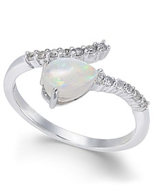 Opal (3/8 ct. t.w.) & Diamond (1/8 ct. t.w.) Statement Ring in 14k White Gold