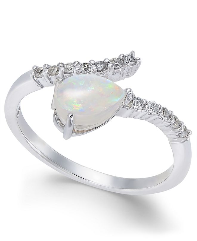 Macy's Opal (3/8 ct. t.w.) & Diamond (1/8 ct. t.w.) Statement Ring in 14k White Gold