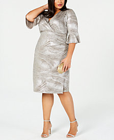 Connected Plus Size Printed Metallic Bell-Sleeve Sheath Dress