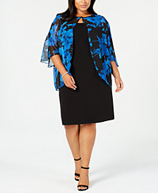 Connected Plus Size Floral-Print Chiffon-Capelet Dress