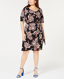 Robbie Bee Plus Size Printed Draped Faux-Wrap Dress