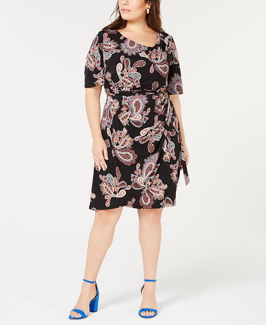 0a564a495f6 Robbie Bee Plus Size Printed Draped Faux-Wrap Dress