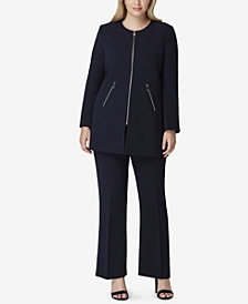 Tahari ASL Plus Size Zip-Front Collarless Pantsuit