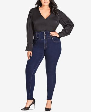 Trendy Plus Size Harley Corset Skinny Jeans, Dark Denim