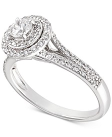 Certified Diamond Halo Engagement Ring (3/4 ct. t.w.) in 14k White Gold, Created for Macy's