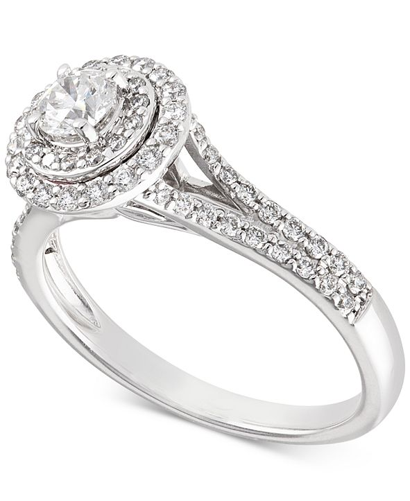 X3 Certified Diamond Halo Engagement Ring (3/4 ct. t.w.) in 14k White Gold, Created for Macy's