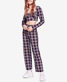 Free People Modern Love Plaid Top & Pants Set