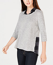 BCX Juniors' Layered-Look Plaid Sweater Top