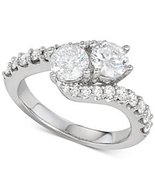 Diamond Two-Stone Twist Engagement Ring (2 ct. t.w.) in 14k White Gold