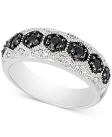 Black Sapphire (1/2 ct. t.w.) & Diamond Accent Ring in Sterling Silver
