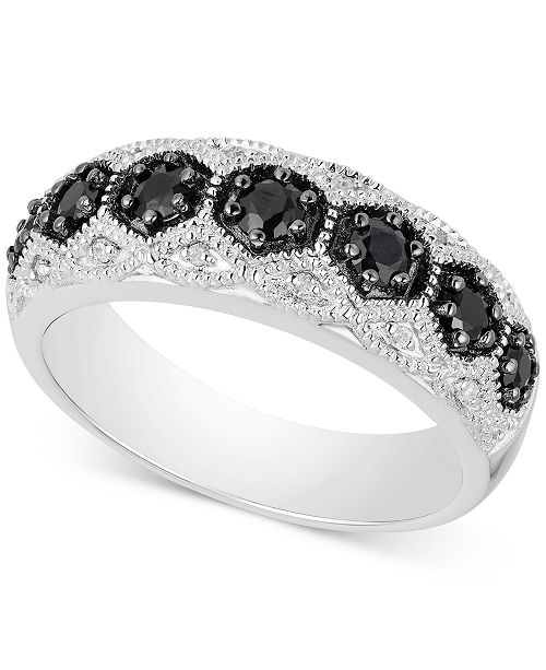 d41d9fc91dec Macy's Black Sapphire (1/2 ct. t.w.) & Diamond Accent Ring in ...