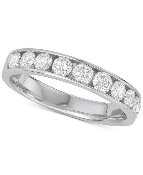 Macy's Diamond Channel-Set Wedding Band (1 ct. t.w.) in 14k White Gold