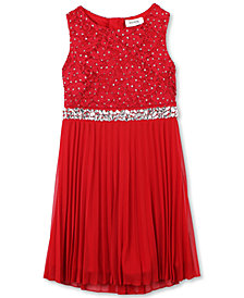Speechless Little Girls Glitter Lace Pleated Dress