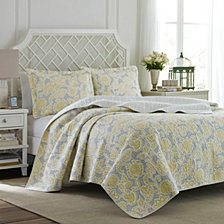 Laura Ashley Full/Queen Joy Lemon Quilt Set