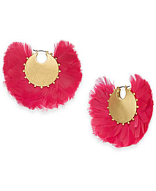 kate spade new york Gold-Tone Feather Hoop Earrings