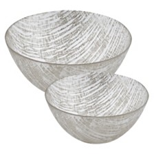 Badash Crystal Silver Lines Bowls - Set of 2