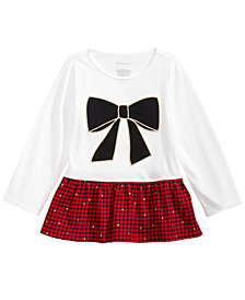 First Impressions Toddler Girls Cotton Bow Plaid Peplum Top, Created for Macy's