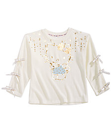 Hello Kittly Little Girls Graphic-Print Hacci Top